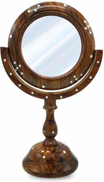 Naayaab Craft Sheesham Wooden Table Top Vanity Mirror, Hand Carved 360 Degrees Rotatable Round Mirror