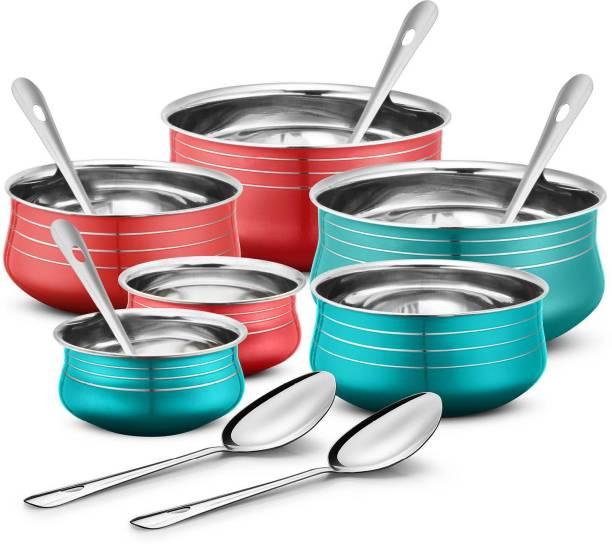 Urban Chef Stainless Steel 6 Pcs Handi Set with 6 Pcs Service Spoon- 6+6= 12 Pcs Set Induction Bottom Cookware Set