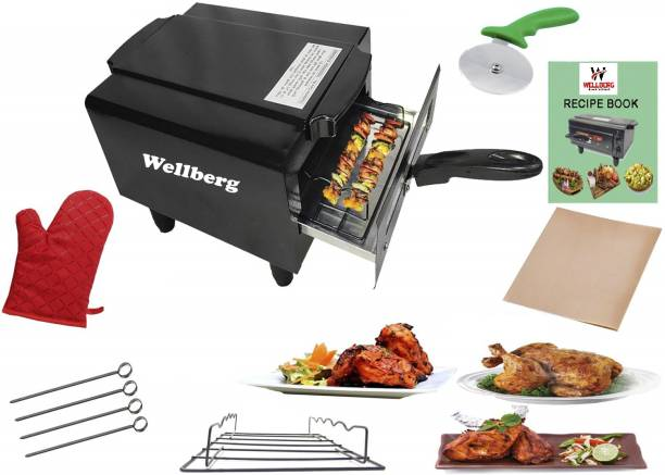 WELLBERG 1500W Small Electric tandoor Pizza Maker Fish Chicken Tikka Naan Tandoori Roti Cake Baker French Fries Meat Barbecue Chaap Oil-free Fryer (Black)Combo Electric Tandoor