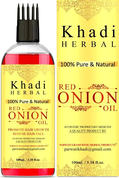 Khadi Herbal 100% Pure & Natural Red Onion Oil For Hair Regrowth, Anti Hair Fall Hair Oil