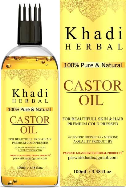 Khadi Herbal 100% Pure & Natural Cold Pressed Castor Oil For Skin & Hair Hair Oil