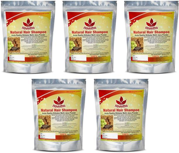 Havintha Natural Hair Shampoo with Amla, Reetha, Shikakai and Methi dana ( Pack of 5 )