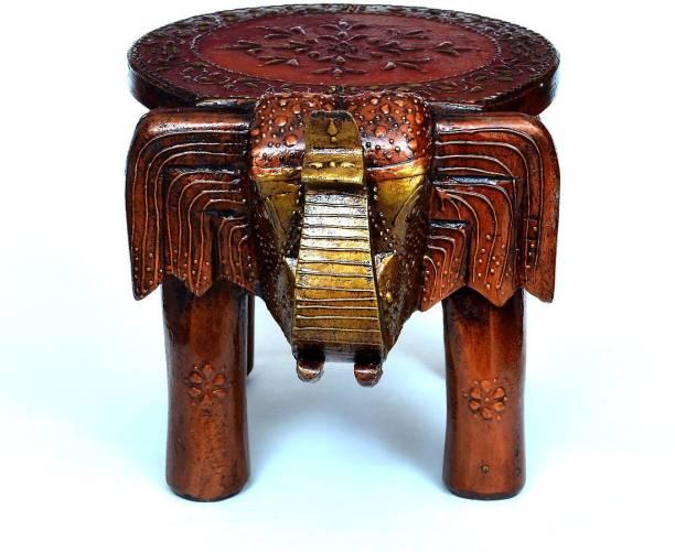 Medieval Arts Tree Handpainted Elephant Stool/Chowki Solid Wood Home Temple