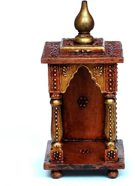 Medieval Arts Copper Handpainted Home Temple/Mandir Solid Wood Home Temple
