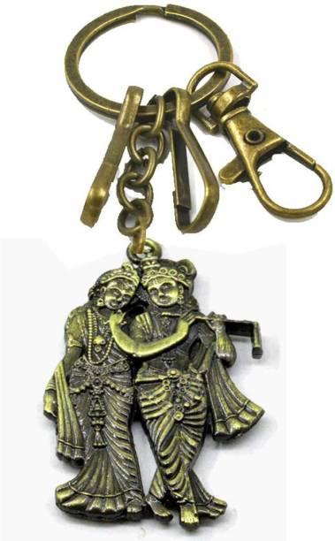 AFH Radha Krishna Antique Gold Hook Decorative Key Chain for Gifting Key Chain