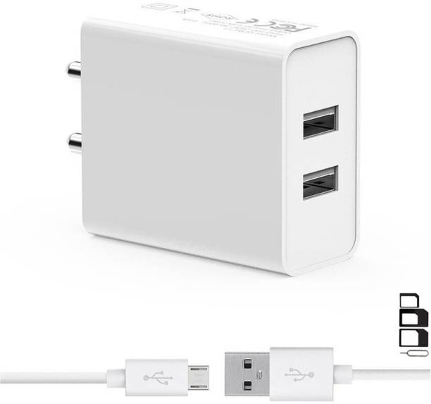 Siwi Wall Charger Accessory Combo for Salora Arya Z4, Lephone W7R, Lephone W10, Lephone W9, Lephone W12, Lephone W11, Aqua Mobile Jazz S1, OptimaSmart OPS-40G, Greenberry Z8, Greenberry Z7, Nubia V18, BLU Vivo One, BLU Vivo X, BLU Studio One, Trio V51, Trio V45DT Charger | Dual Port Charger Original Adapter Like Wall Charger | 2-Port USB Charger | Mobile Power Adapter | Fast Charger | Android Smartphone Charger | Battery Charger | High Speed Travel Charger With 1 Meter Micro USB Cable | Charging Cable | Data Cable