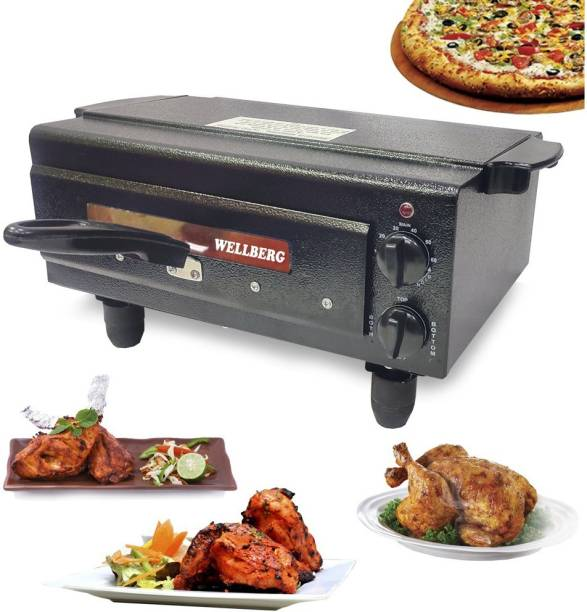 Wellberg 2000W Upper-Lower & Both Timer/Regulator System Electric Pizza Maker with Non Stick paper, Recipe Book,Grill Stand, 4 Skewers. Pizza Maker