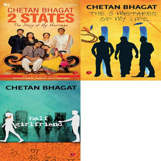 Half Girlfriend + The 3 Mistakes Of My Life + 2 States The Story Of My Marriage (Set Of 3 Books)