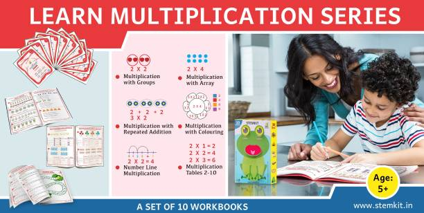 Learn Single Digit Multiplication 10 Workbooks- Beginner Kit | Learn To Multiply Single Digits With Groups, Skip Counting, Repeated Additions, Array, Number Line For UKG, Grade 1, Grade 2