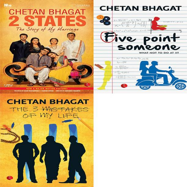 The 3 Mistakes Of My Life + Five Point Someone ; What Not To Do At IIT + 2 States The Story Of My Marriage (Set Of 3 Books)