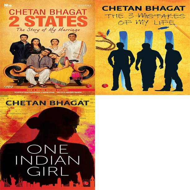One Indian Girl + The 3 Mistakes Of My Life + 2 States The Story Of My Marriage (Set Of 3 Books)