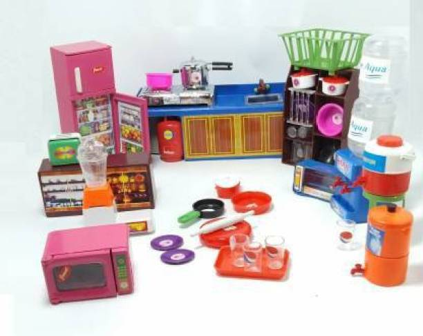 PURVI Super Kitchen 36 Pcs Mini Utensils and Plastic Non Toxic Indian Kitchen Set Great Kitchen Toys for Girls Indoor Game ,Best for Gift/Return Gift(Kid's Love Kitchen Set)
