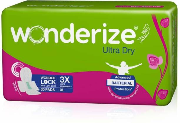 Wonderize Ultra Dry XL Sanitary Napkins For Women - 30 Pads - With advanced bacterial protection - Super Soft Side Edges For Rash Free Periods Sanitary Pad