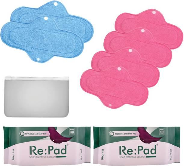 Re:pad Reusable Sanitary Menstrual Cloth Pad Menstrual Hygiene Kit of 4+2 Pads 4 Maxi pads (Pink) + 2 Super Maxi Pads (Blue) Sanitary Pad
