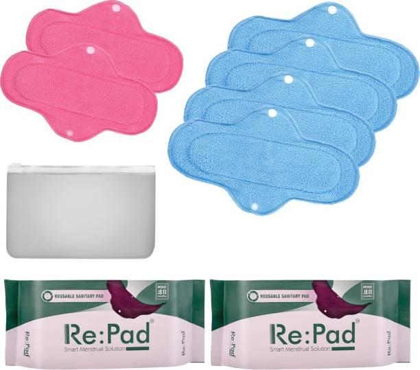 Re:pad Reusable Sanitary Menstrual Cloth Pad Menstrual Hygiene Kit of 2+4 Pads 2 Maxi pads in (Pink) + 4 Super Maxi Pads (Blue) Sanitary Pad