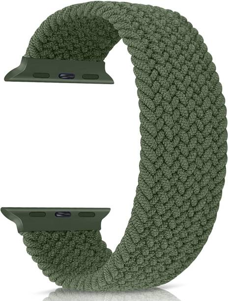 Amtrix Braided Solo Loop Elastic Nylon Straps MEDIUM SIZE Suitable for iWatch 44mm/42mm Series 6/SE/5/4/3/2/1 (Strap Size 14CM) (Green) Smart Watch Strap
