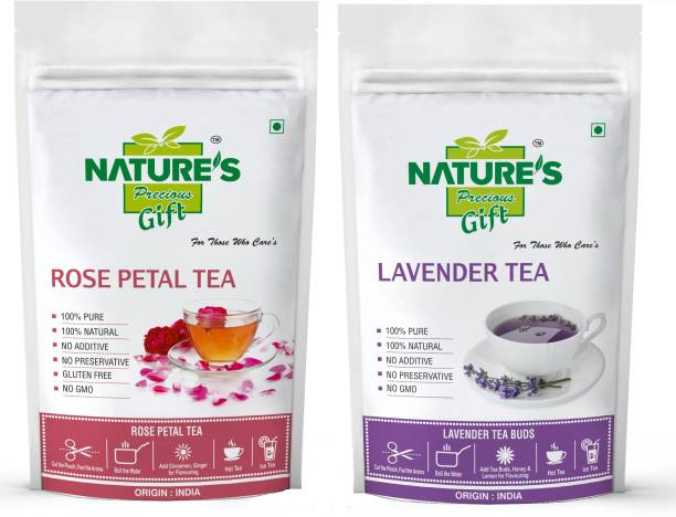 Nature's Precious Gift Rose Tea & Lavender Tea - 100 GM Each (Super Saver Combo Pack) … Unflavoured Herbal Tea Pouch