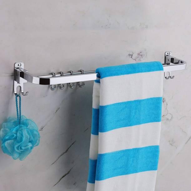 iSTAR Anti Rust 304 Grade Stainless Steel Folding Towel Rod with Hooks/Towel Rack for Bathroom/Towel Bar/Hanger/Bathroom Accessories (24 Inch - Chrome Finish) Silver Towel Holder