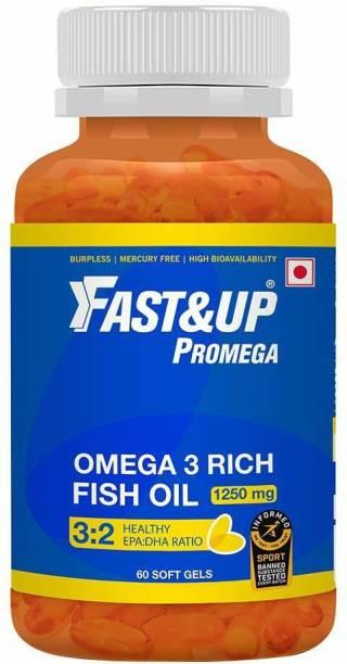 Fast&Up Promega Omega 3 Rich Fish Oil 1250mg 3:2 Health EPA:DHA Ratio (60 Softgels)