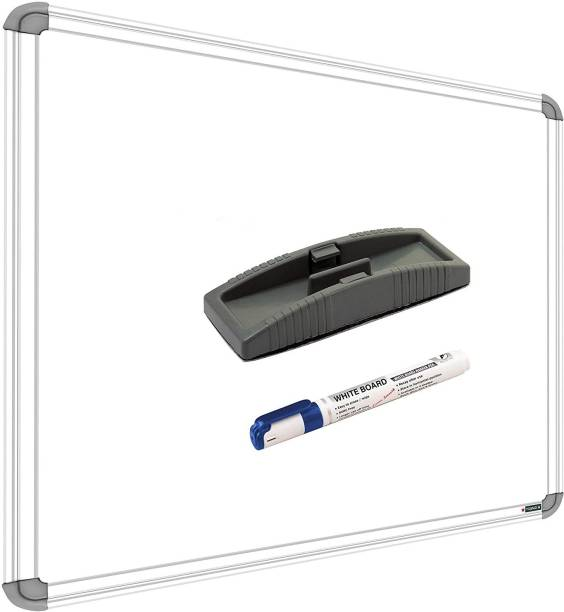 SRIRATNA Non Magnetic Non Magnetic 1.5 X 2 feet Glossy White Board, One Side White Board Marker and Reverse Side Green Chalk Board Surface Whiteboard with 1 Duster And 1 Marker, Whiteboards and Duster Combos