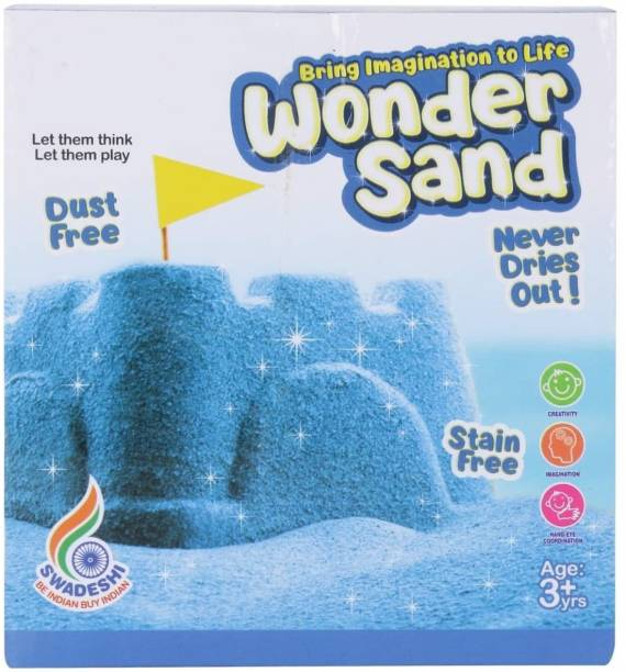 ARNIYAVALA Wonder Sand 500 Grams for Play. Smooth Sand for Kids (Blue 500 Grams), ONE Big Mould Inside (Without Tray)