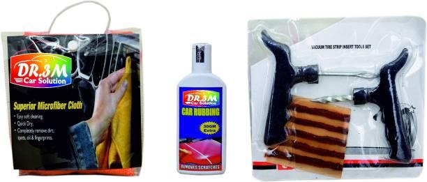 dr.3m CAR RUBBING 100gm.(30gm EXTRA)+MICROFIBER CLOTH (ORANGE). + Panchar kit ( Master combo Pack) Combo