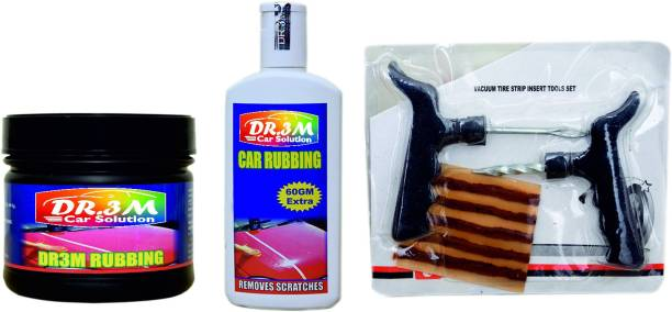 dr.3m RUBBING 500GM.+ CAR RUBBING SCRATCH REMOVER 200GM. + Panchar kit ( Master combo Pack) Combo