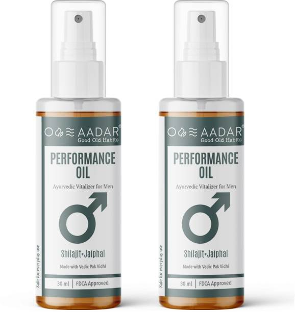 AADAR PerforMANce Oil | Ayurvedic Power Oil for Men | Improves Stamina and Vitality | Shilajit, Black Seed, Jaiphal and Ashwagandha | 30 ml (Pack of 2)