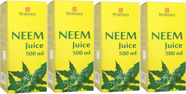 Krishna's Herbal & Ayurveda Neem Juice   Pure Ayurvedic and Herbal   No Artificial Colours and Flavours   Enhances Skin and Oral Health   Natural Blood Purifier   GMP Certified   Pack of 4   500 ml Each