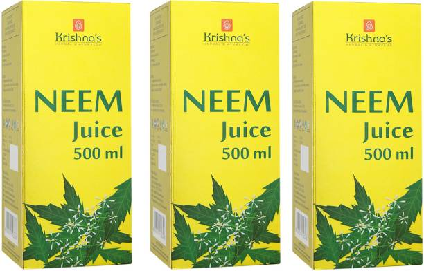 Krishna's Herbal & Ayurveda Neem Juice   Pure Ayurvedic and Herbal   No Artificial Colours and Flavours   Enhances Skin and Oral Health   Natural Blood Purifier   GMP Certified   Pack of 3   500 ml Each