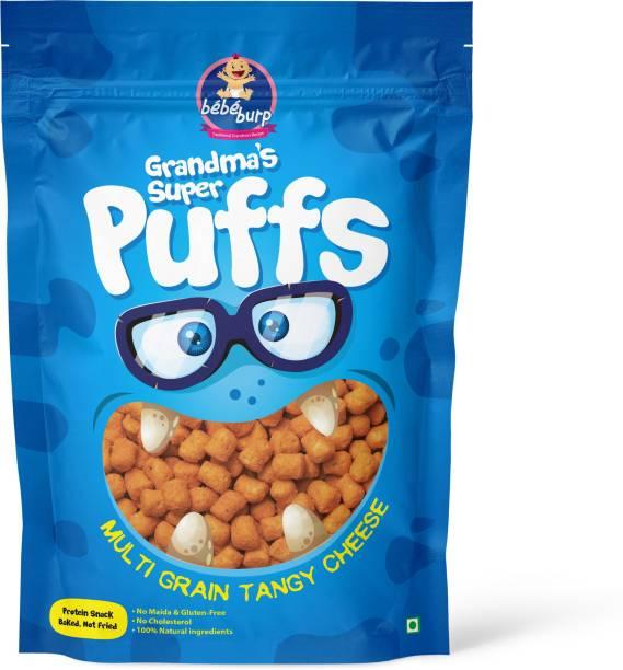bebe burp GRANDMA'S SUPER PUFFS MULTI GRAIN TANGY CHEESE (PACK OF 4) Baby Puffs 200 g