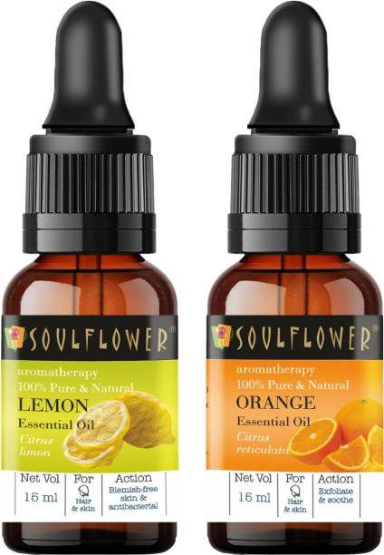 Soulflower Lemon Essential Oil 15ml & Orange Essential Oil 15ml (30 ml)| 100% Pure, Natural and Undiluted for Hair, Skin and Face