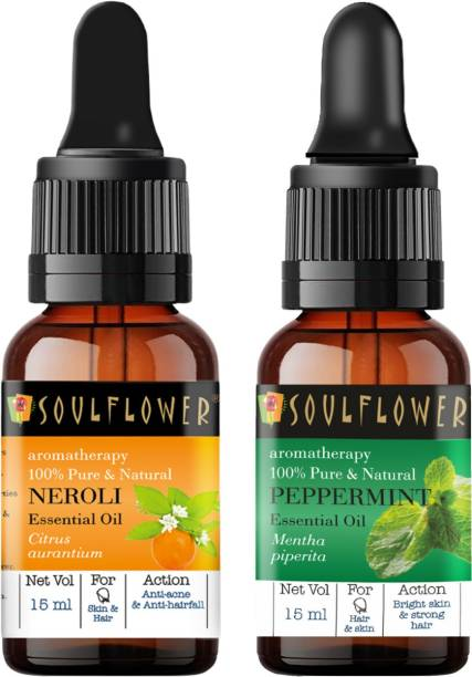 Soulflower Neroli Essential Oil 15ml & Peppermint Essential Oil 15ml (30 ml)| 100% Pure, Natural and Undiluted for Hair, Skin and Face