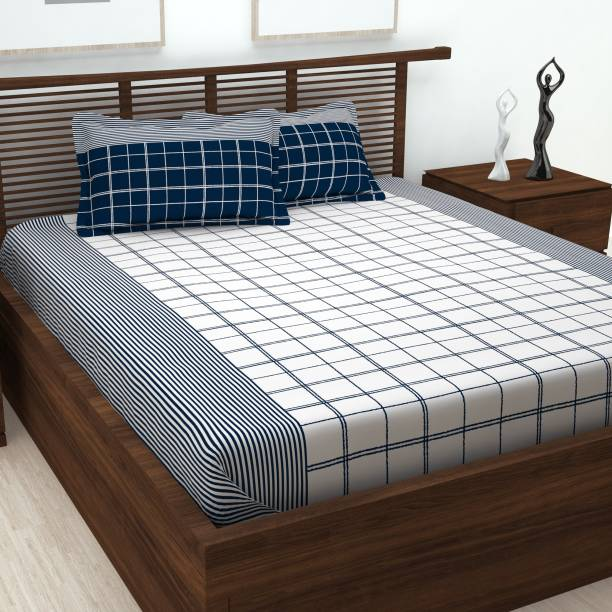 Story@home 152 TC Cotton Double Checkered Bedsheet