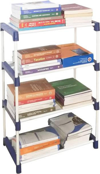 CMerchants Multi Organiser BLue-4 Book Shelf Metal Open Book Shelf