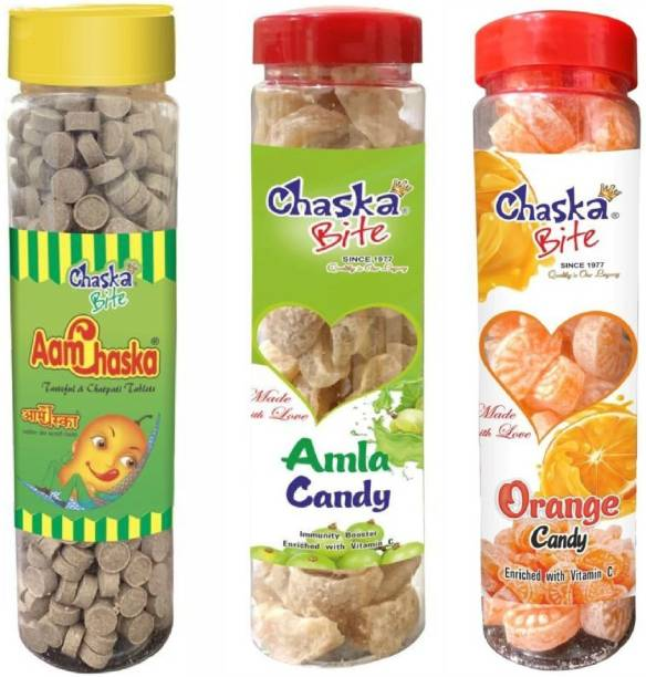 CHASKA BITE AAM CHASKA ( 250 G ) , ORGANIC AMLA CANDY ( 200 G ) AND ORANGE CANDY ( 200 G ) CHATPATI AND SWEET Candies , Dry AMCHUR GOLI , Easy Store Bottle Pack ( 650 G ) CHATPATI and Digestive Sour Candy Pack of 3 DRY MANGO, AMLA FLAVOR, ORANGE FLAVOR Candy