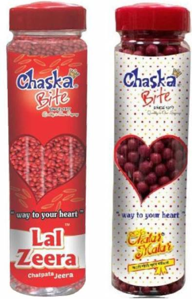 CHASKA BITE CHATAR MATAR AND LAL JEERA CHATPATI ( 250g x 2 ) Candies , Dry AMCHUR GOLI , Easy Store Bottle Pack ( 500 G ) CHATPATI and Digestive Sour Candy Pack of 2 DRY MANGO, SWEET AND SOUR Candy