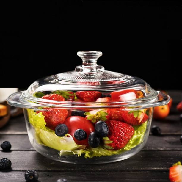 green kivvi Toughen Glass 2.5 Litre Casserole Serve Bowl Containers Borosilicate Bowl Cook and Serve Casserole