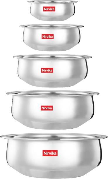Nirvika Stainless Steel handi set Bottom Venna Chetty/Handi Pot 5 Piece Set/Steel Handi Set 5 Piece Set Handi 550ml, 750ml, 1100ml, 1500ml and 1900ml) (Stainless Steel, without Copper) Cookware Set ( Stainless Steel, 5 - Piece) Handi 0.55 L, 0.75 L, 1.1 L, 1.5 L, 1.9 L