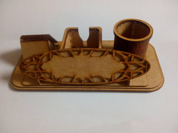CB 2 Compartments MDF Wooden Wooden Pen Stand