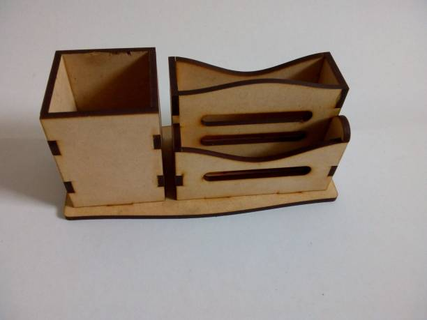 CB 3 Compartments MDF Wooden Wooden Pen Stand