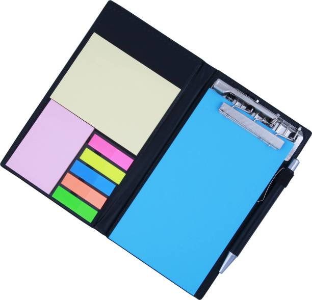 DALUCI Neon Blue Memo Note Book With Sticky Notes & Clip Holder In Diary Style A5 Memo Pad Hard Bound 50 Pages