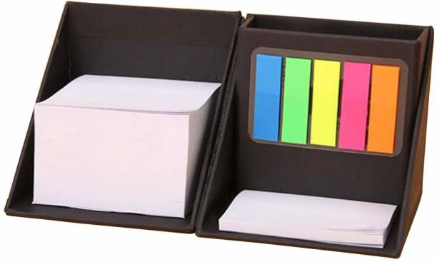 DALUCI Cube Style Foldable Sticky Memo Pads with Stationery Pen Holder, Sticky Note Pocket-size Memo Pad Soft Bound 100 Pages