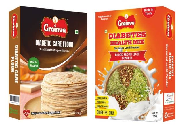 grainva Diabetic Care Flour 500 g, Diabetic Health Mix 400 g