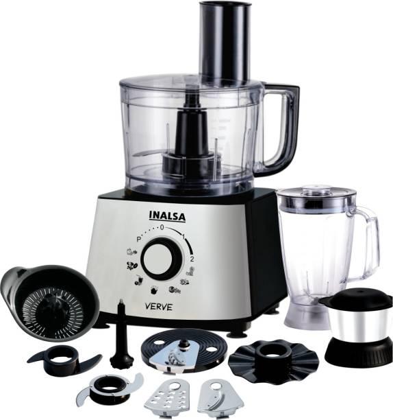 Inalsa Verve 800W Food Processor with 100% Pure Copper Motor| 2 Multipurpose Jars & 11 Accessories 800 W Food Processor