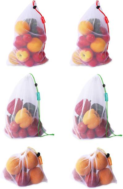 Ganapati Vegetable Bag for Fridge Fruit Net Bag Storage Bag for Refrigerator Reusable Washable Multipurpose Draw string Grocery Mesh Bag Pack of 6 Grocery Bags