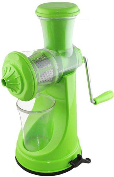 MYYNTI Plastic Hand Juicer Fruit & Vegetable Steel Handle with Vacuum Locking System, Green Plastic Hand Juicer (Green Pack of 1)