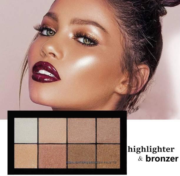 GULGLOW99 makeup high water proof 8 color highlighter & bronzer palette