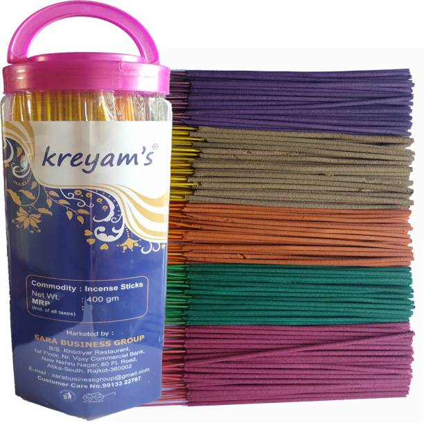 Kreyam's Incense Sticks - Agarbatti - Fragrance Sticks - Combo of 5 Fragrances Mogra, Rose, Gugal, Sandal, pandadi