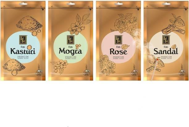 Zed Black Premium Incense Sticks - 4 Premium Fragrances - Kasturi, Rose, Mogra & Sandal (Combo of 4 Zipper Pack) Kasturi, Rose, Mogra, Sandal